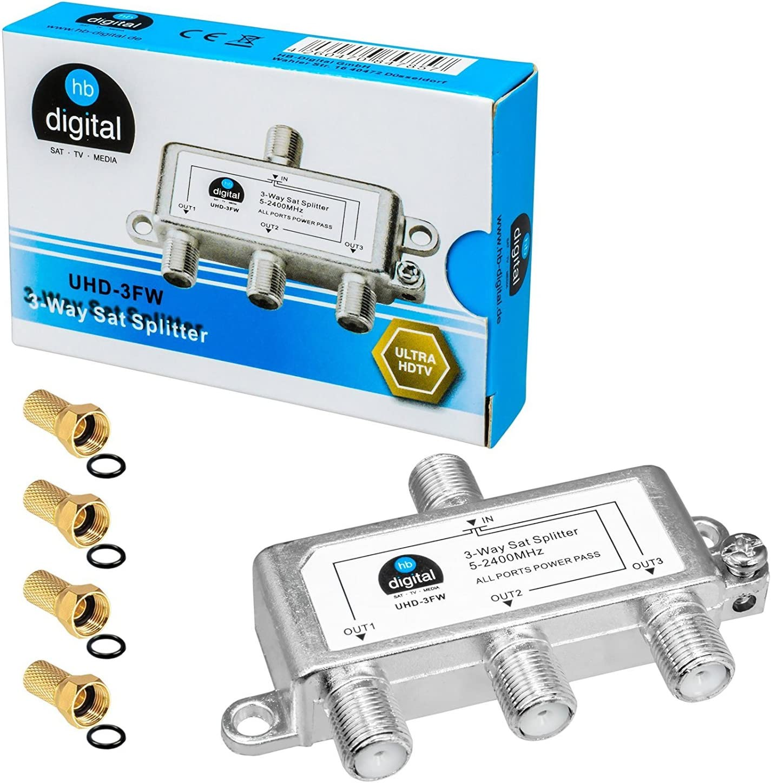 HB-DIGITAL SAT - BK - UKW - distribuidor Divisor séxtuplo (6 vías)| 5-2400 MHz | digital y analógico - adecuado | totalmente apantallado | DVB-S ...