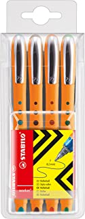 Stabilo Bionic Worker Rollerball Fine Wallet .3mm Pt , Set of 4 , Multicolored