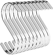 PAMO S-haken, zilverkleurig, van metaal, set van 10 stuks, keukenhaken van roestvrij staal, voor het ophangen van pannen i...
