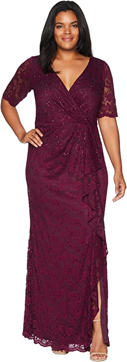 Plus Size Long Stretch Lace Gown with Beaded Detail and Cascade Skirt