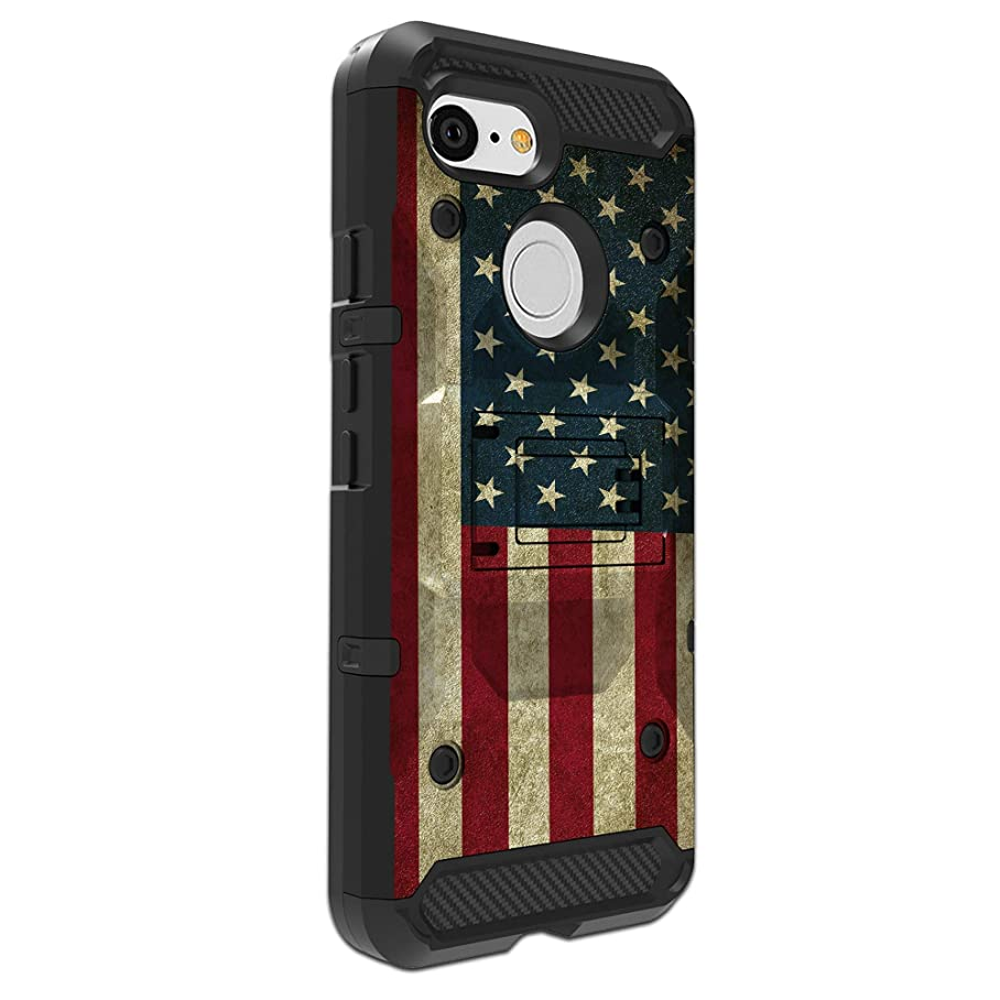 All-Around MINITURTLE Phone Case Compatible with Apple iPhone XR (2018) Kickstand + 360° Holster Combo [Built-Tough][3-Piece Case] - American Flag iechzbntz317
