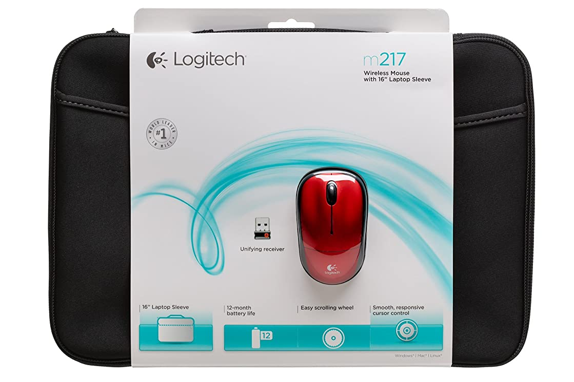 "Logitech 910-002139 Bundle Wireless Mouse M217 – Red & 16"" Sleeve"