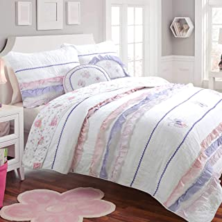 Cozy Line Home Fashions Irene Light Purple Pink White Butterfly Romantic Lace Quilt Bedding Set, 100% Cotton Reversible Coverlet Bedspread Set (Pink/Lilac, Twin - 2 Piece)