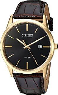 Citizen Men's Quartz Stainless Steel and Leather Casual Watch, Color:Brown (Model: BI5002-06E)