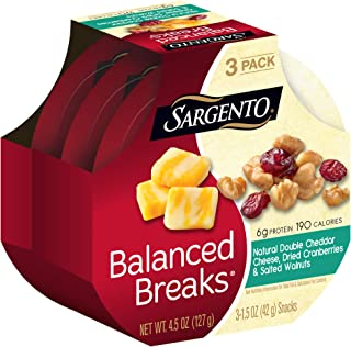 Sargento Balanced Breaks Natural Double Cheddar Cheese with Salted Walnuts and Dried Cranberries, 1.5 oz, 3-Pack