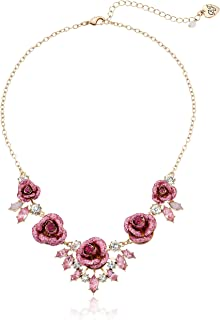 Betsey Johnson Women's Glitter Rose Necklace Rose