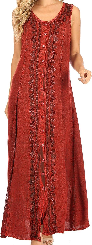 Sakkas Diana Women's Maxi Sleeveless Stonewashed Long Boho Casual Dress Rayon