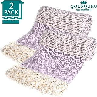 QoupQuru Vintage 2 Pack Peshtemal Towels Set – 100% Turkish Cotton – Perfect for Bath, Beach, Yoga, Spa, Gym, Pool, Hammam & Sauna – Light Weight, Absorbent & Easy Dry – Oversized 40X70 (Lavander)