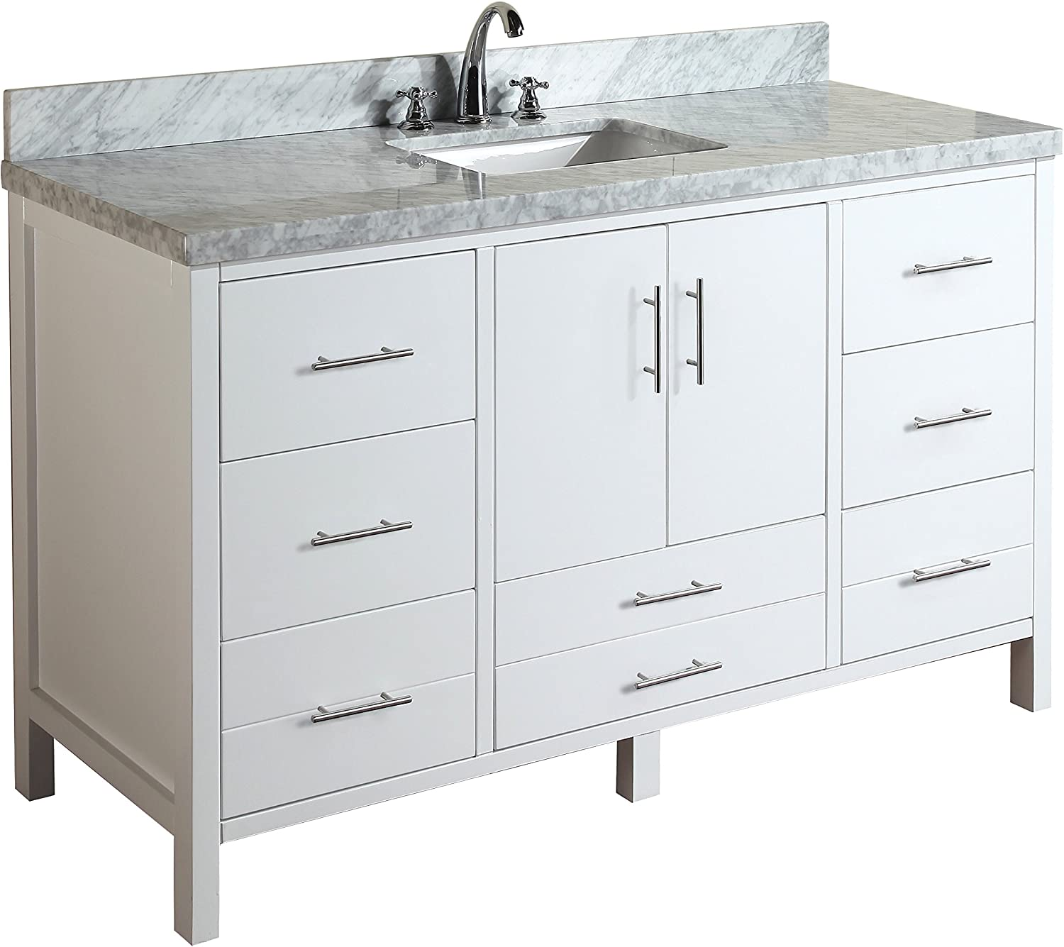 Amazon Com California 60 Inch Single Bathroom Vanity Carrara White Includes White Cabinet With Authentic Italian Carrara Marble Countertop And White Ceramic Sink Everything Else