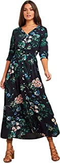 Floral Printed 3/4 Sleeves A-Line Maxi Women's Dress with Button Closure
