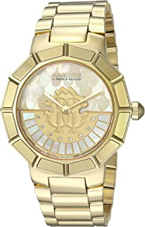 Roberto Cavalli by Franck Muller Women's Rotating DIAL Quartz Watch with Gold-Tone-Stainless-Steel Strap, 18 (Model: RV2L011M0086)