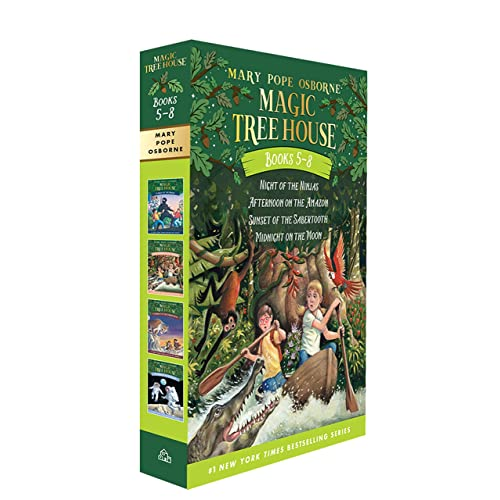 Magic Tree House Boxed Set, Books 5-8: Night of the Ninjas, Afternoon on the Amazon, Sunset of the Sabertooth, and Midnight on the Moon
