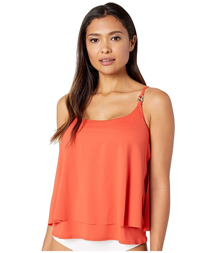MICHAEL Michael Kors Radiant Chain Solids Layered Tankini Top (Terracotta) Women