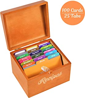 Akshaya Maple Wood Recipe Box with 100 recipe cards 4x6 and 25 dividers | Perfect Kitchen Cooking gift set idea for Mom Women Grandma Bridal Shower and Weddings