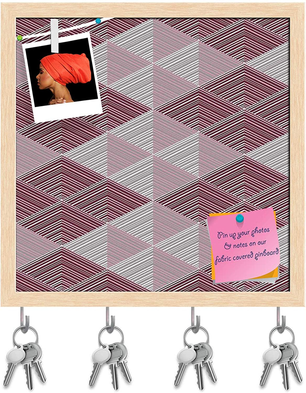 Artzfolio Rhombs Key Holder Hooks   Notice Pin Board   Natural Brown Frame 20 X 20Inch