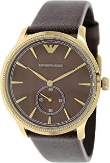 Emporio Armani Casual Watch Analog Display Quartz For Men Ar1799, Brown Band