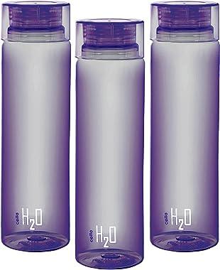 Cello Deluxe H2O Unbreakable Water Bottle Set, Set of 3, 1 Litre Purple
