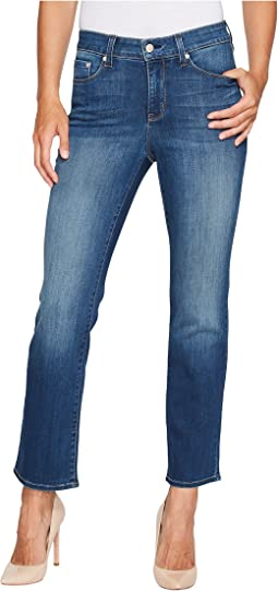 Marilyn Straight Ankle Jeans in Crosshatch Denim in Anson