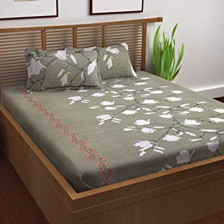 Story@Home 120 TC 100% Cotton Prism Collection Elegant Floral Pattern 1 Double Bedsheet with 2 Pillow Cover - Grey