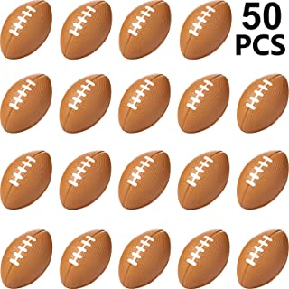 Sports Stress Ball, Mini Foam Squeeze Sports Ball, Foam Squeeze Sports Ball for School Carnival Reward, Party Bag Gift Fillers (Football, 50 Packs)