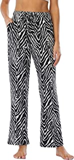 Vlazom Algodón Pantalones Largas Mujer Verano para Pijamas y Desportivas, Pantalones de Pijamas Suave y Transpirable S-XXL