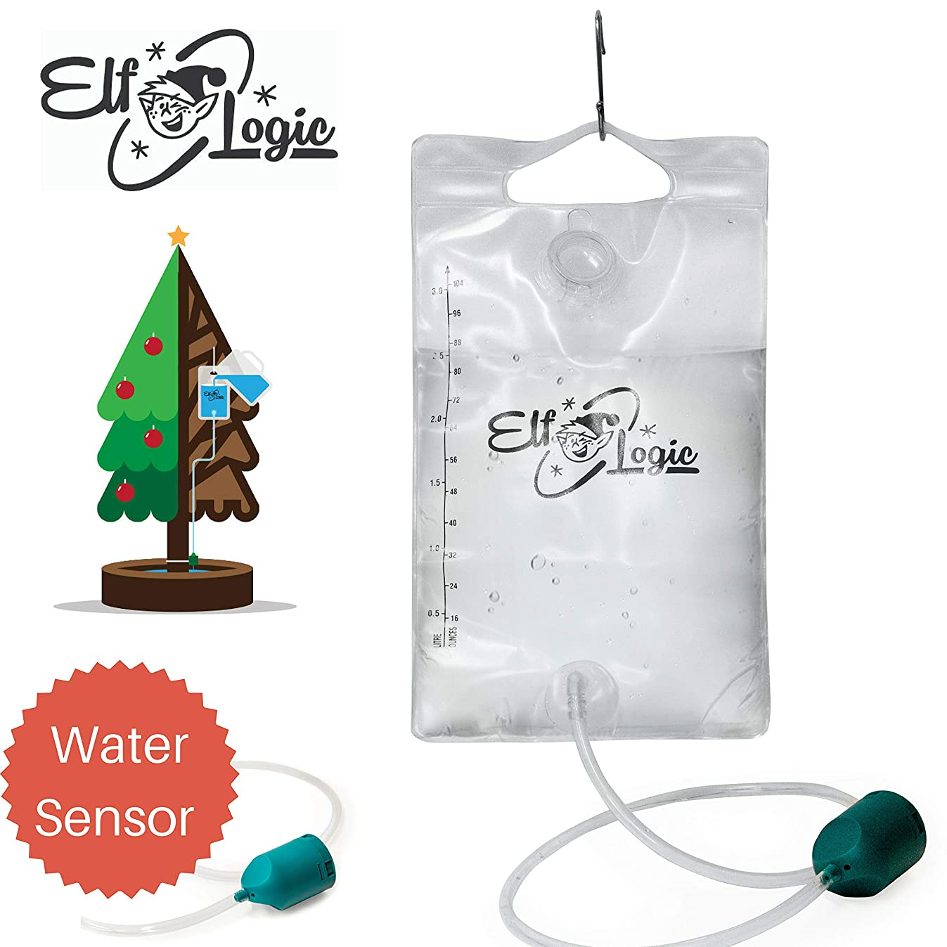 Elf Logic - Automated Christmas Tree Waterer - Smart Tree Watering System - Senses When Water Levels Drops & Funnels Water to Christmas Tree Automatically