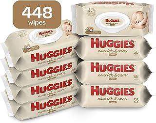 Huggies Nourish & Care Baby Wipes, Sensitive Skincare, Scented, Water-Based, 8 Flip-Top Packs, 56 Ct (448 Total Wipes)