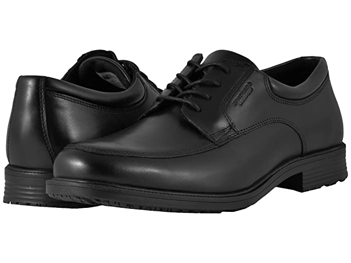 Rockport  Essential Details Waterproof Apron Toe (Black) Mens Lace Up Cap Toe Shoes