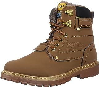 5500945c92f48b Lijeer Bottes et Boots Homme Botte Femme Mode Hiver Neige Chaudement en  Cuir Baskets Randonnée Chaussures