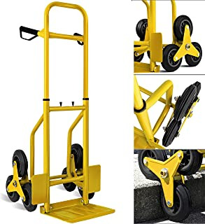 MASKO Treppenkarre Sackkarre 200kg Transportkarre Treppensteiger Stapelkarre, klappbar Treppensackkarre Hartgummireifen | Kunststoff Griffe | Stahl Rahmen | Gelb