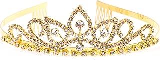 Gold Costume princess crown With Comb Pin For Girls & Women Crystal Bridal wedding Tiara