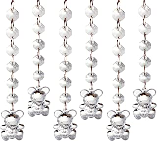 Acrylic Crystal Clear Bear Drop Pendant,Cake Tower Garland Hanging Bead Strands for Baby Showers, Birthday Parties, Event Centerpieces, Weddings, Christmas Decoration and More (Pack of 6)