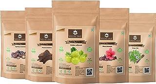 VEDICINE Pure and Natural Amla Reetha Shikakai Hibiscus Bhringraj Powder for Hair Pack (50 gram each)