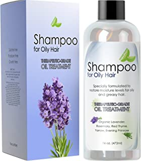Natural Oily Hair Shampoo for Men and Women with Sensitive Scalp & Greasy Hair – Sulfate Free Keratin Hair Care for Color Treated Hair – Pure Rosemary Jojoba Lavender Oil for Hair Growth – 16 oz