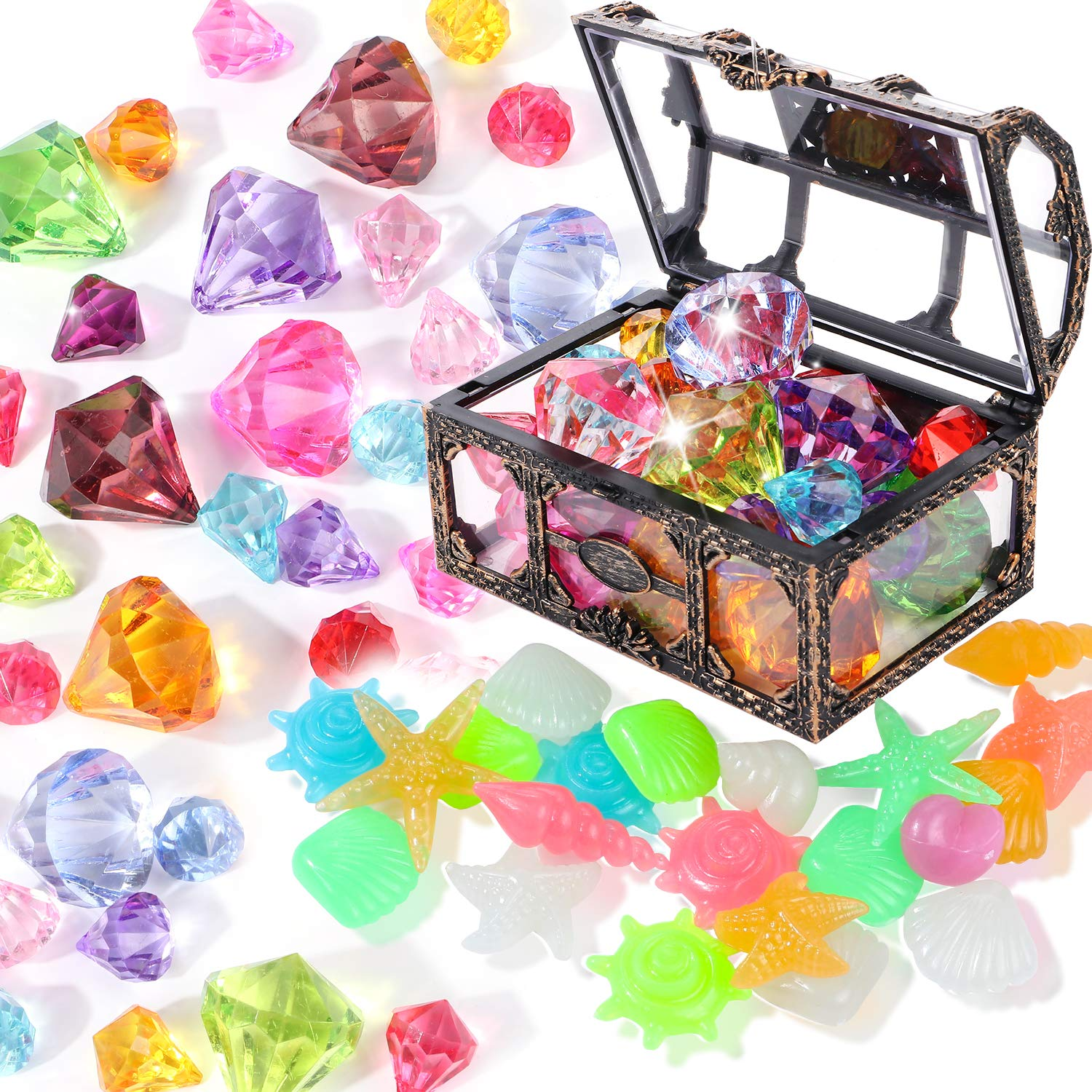 Diving Gem Pool Toy 6 Big Colorful Diamonds Set with Treasure Pirate Box Summer Swimming Gem Diving Toys Set Dive Throw Toy Set Underwater Swimming Toy for Pool Use Treasures Gift Sets silver white