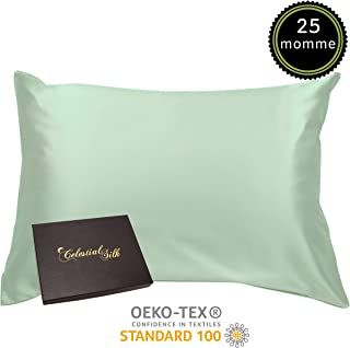 100% Silk Pillowcase for Hair Zippered Luxury 25 Momme Mulberry Silk Charmeuse Silk on Both Sides of Cover -Gift Wrapped- (King, Mint Green)