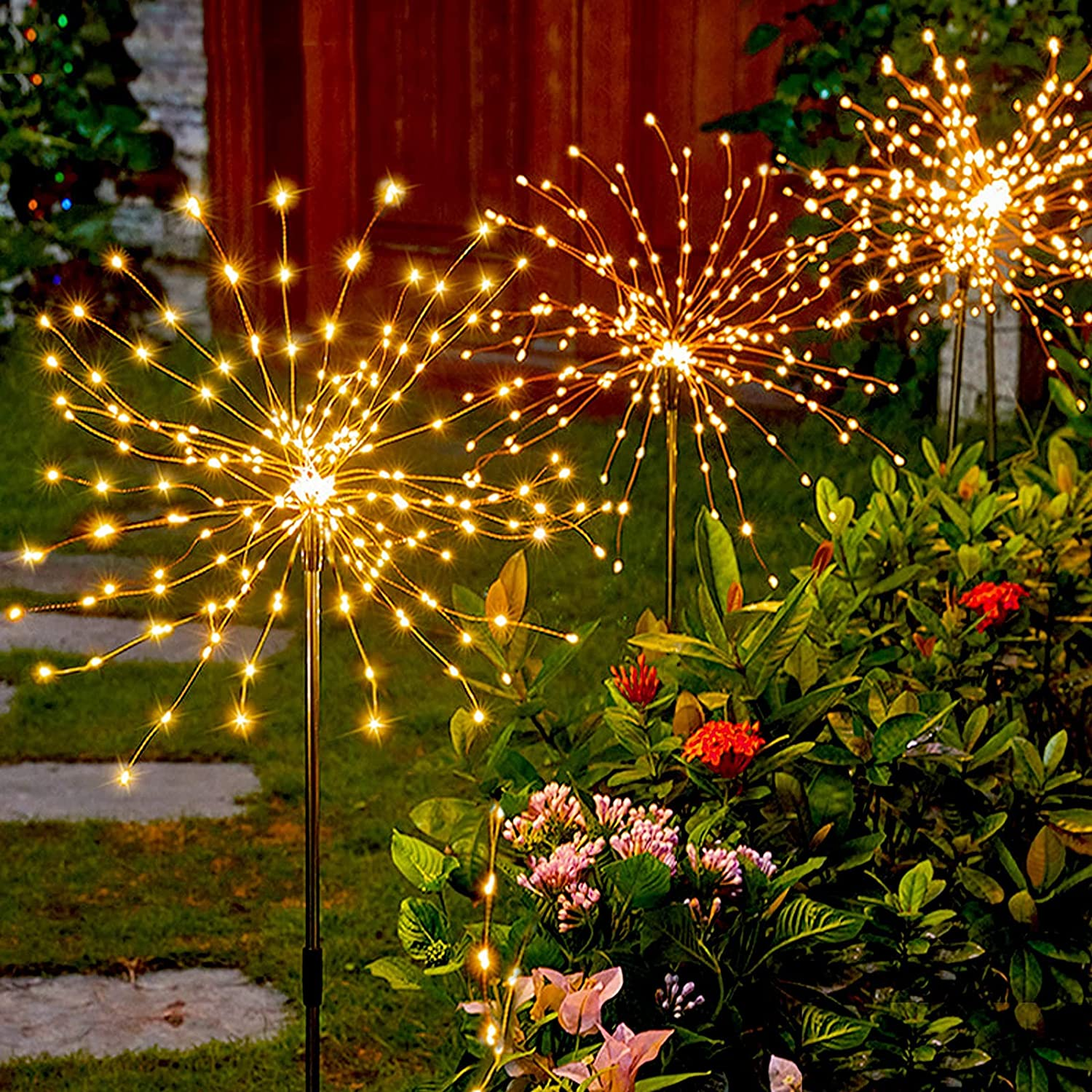 Firework Solar Lights Outdoor, BLUEGUAN 6 Pack Firework Lights with 630 LED and Flexible Copper Wire, 2 Lighting Modes Solar Fireworks Lights Outdoor Waterproof for Garden, Landscape, Pathway, Décor
