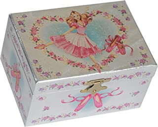 Splendid Music Box Co. Metallic Hot Pink Ballerina Heart Wreath Papier Musical Jewelry Box Plays Swan Lake