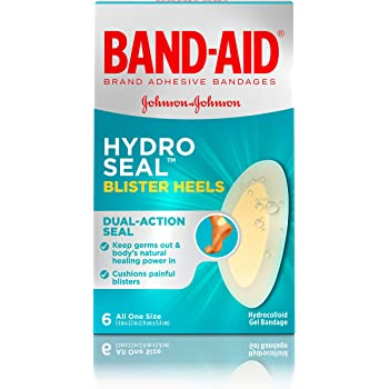 Band-Aid Brand Hydro Seal Adhesive Bandages for Heel Blisters, Waterproof Blister Pad and Hydrocolloid Gel Bandage, Sterile and Long-Lasting, 6 ct