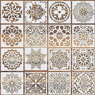 PATPAT® 16 Pcs Reusable Stencils, Mandala Stencils Laser Cut Painting Template Painting Stencil for DIY Walls Art Scrapbook