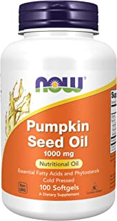 NOW Supplements, Pumpkin Seed Oil 1000 mg with Essential Fatty Acids and Phytosterols, Cold Pressed, 100 Softgels