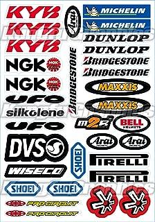 Kungfu Graphics KYB Sponsor Logo Racing Sticker Sheet Universal (7.2x 10.2 inch), White