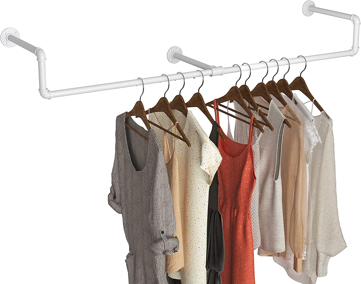 Metal Pipe Clothing Rack Wall Iron Ra Industrial Mounted excellence Max 63% OFF Garment