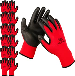 ACKTRA Ultra-Thin Polyurethane (PU) Coated Nylon Safety WORK GLOVES 12 Pairs, Knit Wrist Cuff, for Precision Work, for Men & Women, WG002 Red Polyester, Black Polyurethane, Large