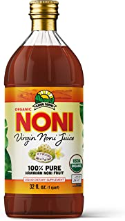 Virgin Noni Juice - 100% Pure Organic Hawaiian Noni Juice - 32oz Glass Bottle