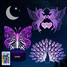 3 pcs Night Light 3D lamp 7 Colors Changing Nightlight with Smart Touch & Remote Control 3D Night Light for Kids or as Gifts for Women Kids Girls Boys