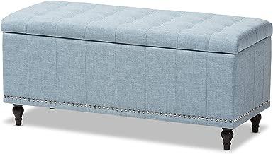 Baxton Studio Sherell Modern Classic Fabric Upholstered Button-tufting Storage Ottoman Bench, Light Blue