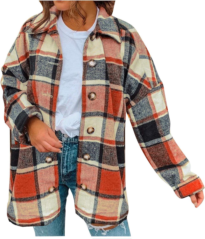 Women Coat Lattice Lapel Button Color Block Shirt Casual Long Sleeve Loose Overcoat