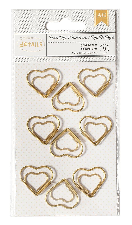 American Crafts 9 Piece Designer Desktop Heart Paper Clips
