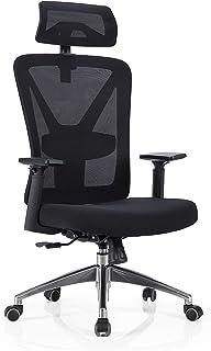 Nordhold - Silla de oficina de malla ergonómica Reposacabezas ajustable, excelente apoyo para la espalda, duradera, negro, Skadi